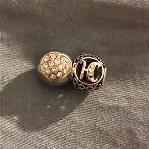 "Pandora charms lot of 2 balls ""K"" & ""heart"""
